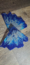 Load image into Gallery viewer, Grayish Chrome and blue Agate slice  Coasters with Blue Swarovski Crystals