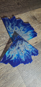 Grayish Chrome and blue Agate slice  Coasters with Blue Swarovski Crystals