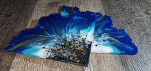 Load image into Gallery viewer, Blue, white, black and gold Agate Slice coasters with Swarovski Crystals
