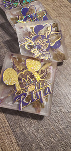 When all else fails go Mouse... Royal Purple and Gold 3D Coasters