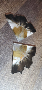Gold, black and white Agate Slice Coasters