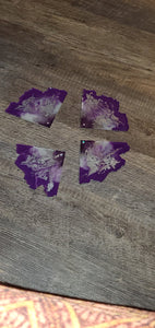 Lions gate... purple, grey and silver Agate Slices crystals