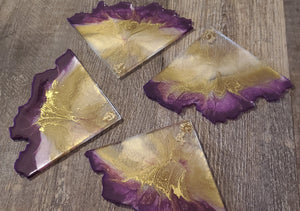 "Agate slice coasters ""Royalty"""
