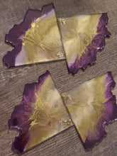 "Load image into Gallery viewer, Agate slice coasters ""Royalty"""