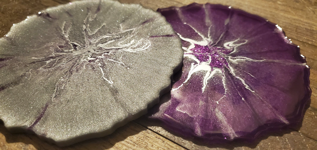 PURPLE SIDE OF GRAY GEODE STYLE COASTERS