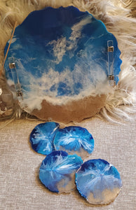 Geode Slice Ocean Tray and Coaster Set