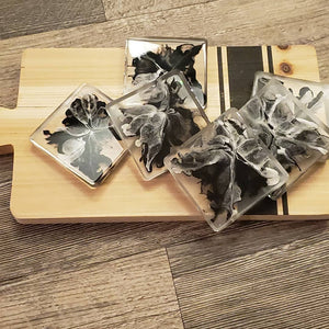 "Premade Coasters... Black and white ""Domino"" coasters"
