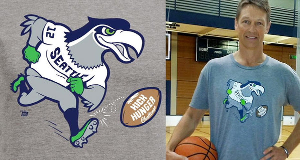 Seattle Supersonic, Detlef Schrempf, sporting an Ames Bros Seattle Seahawks Kick Hunger 2014 T-Shirt