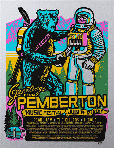 Pemberton Music Festival 2016 Poster - Variant Edition (Silver Metallic)