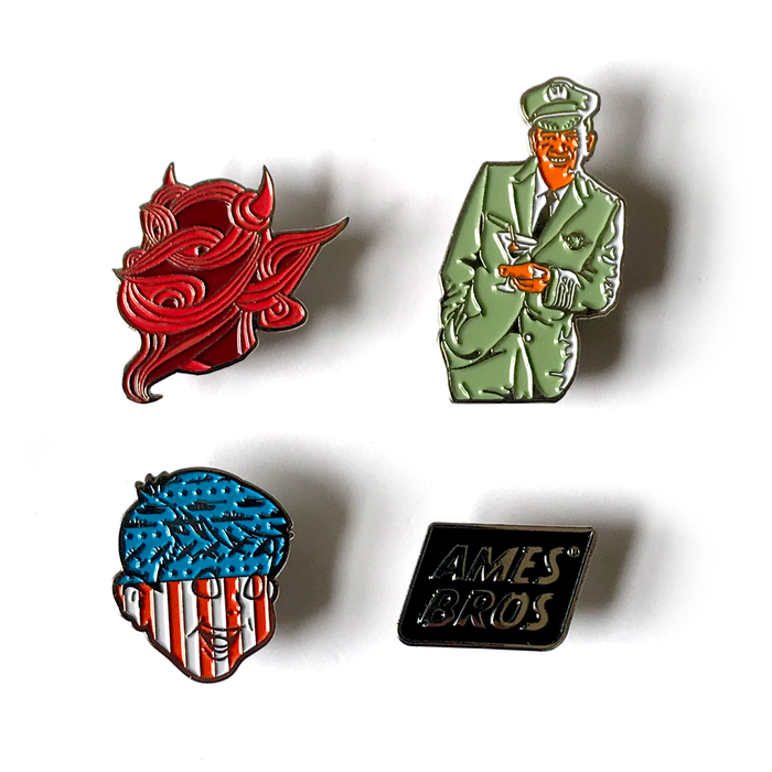 Istanbul, Drunk Pilot, Schucks n' Awe, and Ames Bros Block Logo Enamel Pin Pack