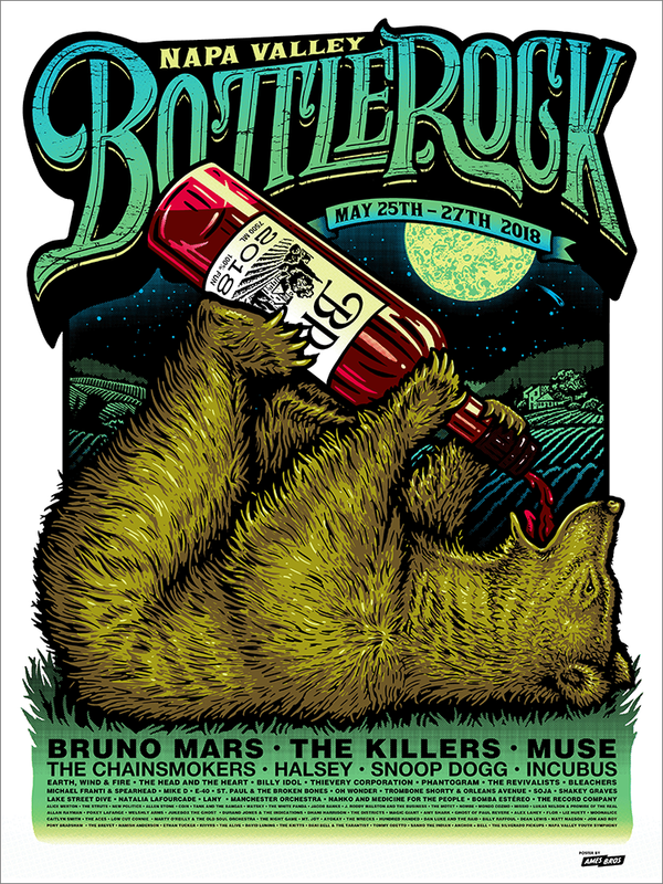 BottleRock 2018 Napa Valley, CA Festival Poster - Regular Edition