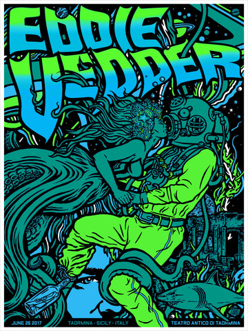 Eddie Vedder 2017 Poster Taormina - Sicily - Italy * Signed & Numbered * Variant