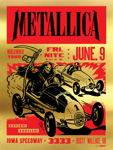 Metallica - 2017 Iowa Speedway Newton, IA Poster - Gold Foil Edition