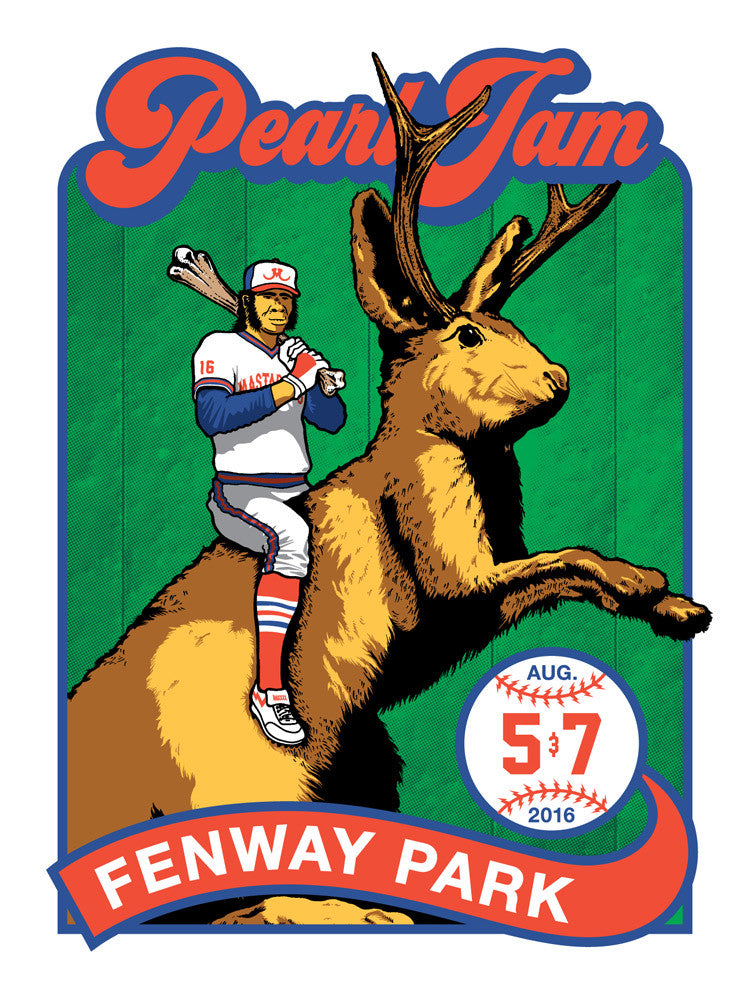 "Pearl Jam 2016 Fenway Park ""Bucky"" Regular Edition Poster + Trading Card"