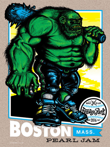 "Pearl Jam 2016 Fenway Park ""Green Monster"" Variant Edition Poster + Trading Card"