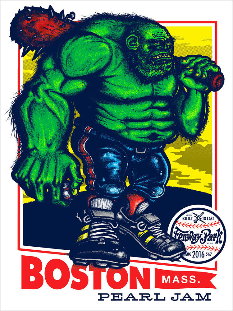 "Pearl Jam 2016 Fenway Park ""Green Monster"" Regular Edition Poster + Trading Card"
