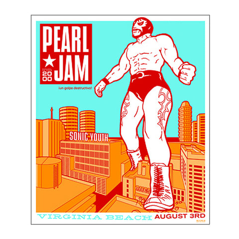 Pearl Jam 2000 Virginia Beach Concert Poster