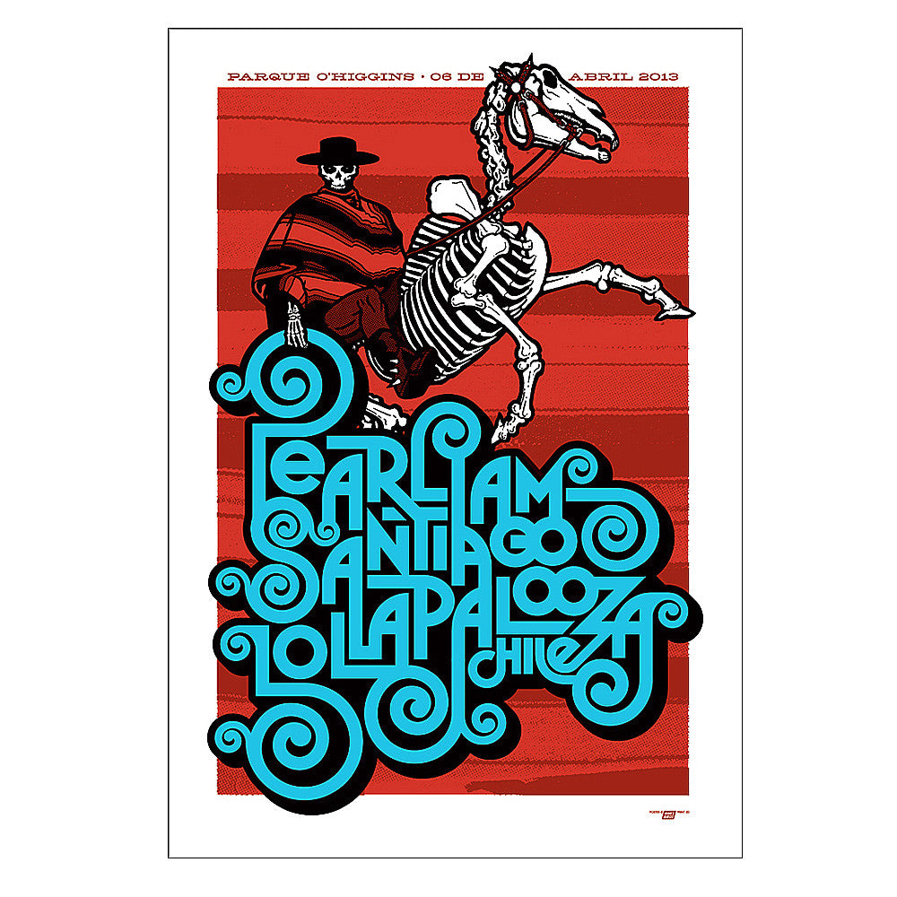 Pearl Jam 2013 Lollapalooza Santiago, Chile Poster