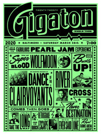 Pearl Jam 2020 Baltimore Glo Variant Poster