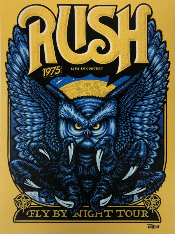 Rush Fly By Night Tour Poster - Super Gold Variant