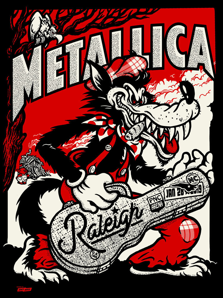 Metallica 2019 Raleigh, NC PNC Arena Poster - Black (As Your Heart) Black  Chrome Edition of 30