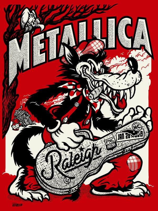 Metallica 2019 Raleigh, NC PNC Arena Poster - (The Blood Flows) Red Chrome Edition of 70