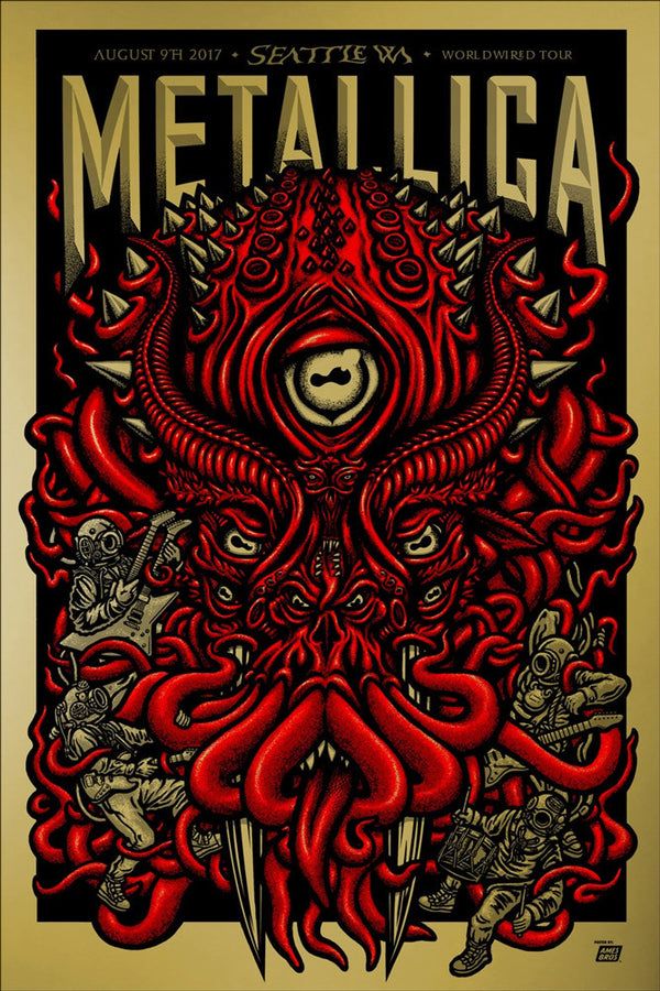 Metallica 2017 Seattle, WA  Century Link Field Poster - Super Gold Edition of 70