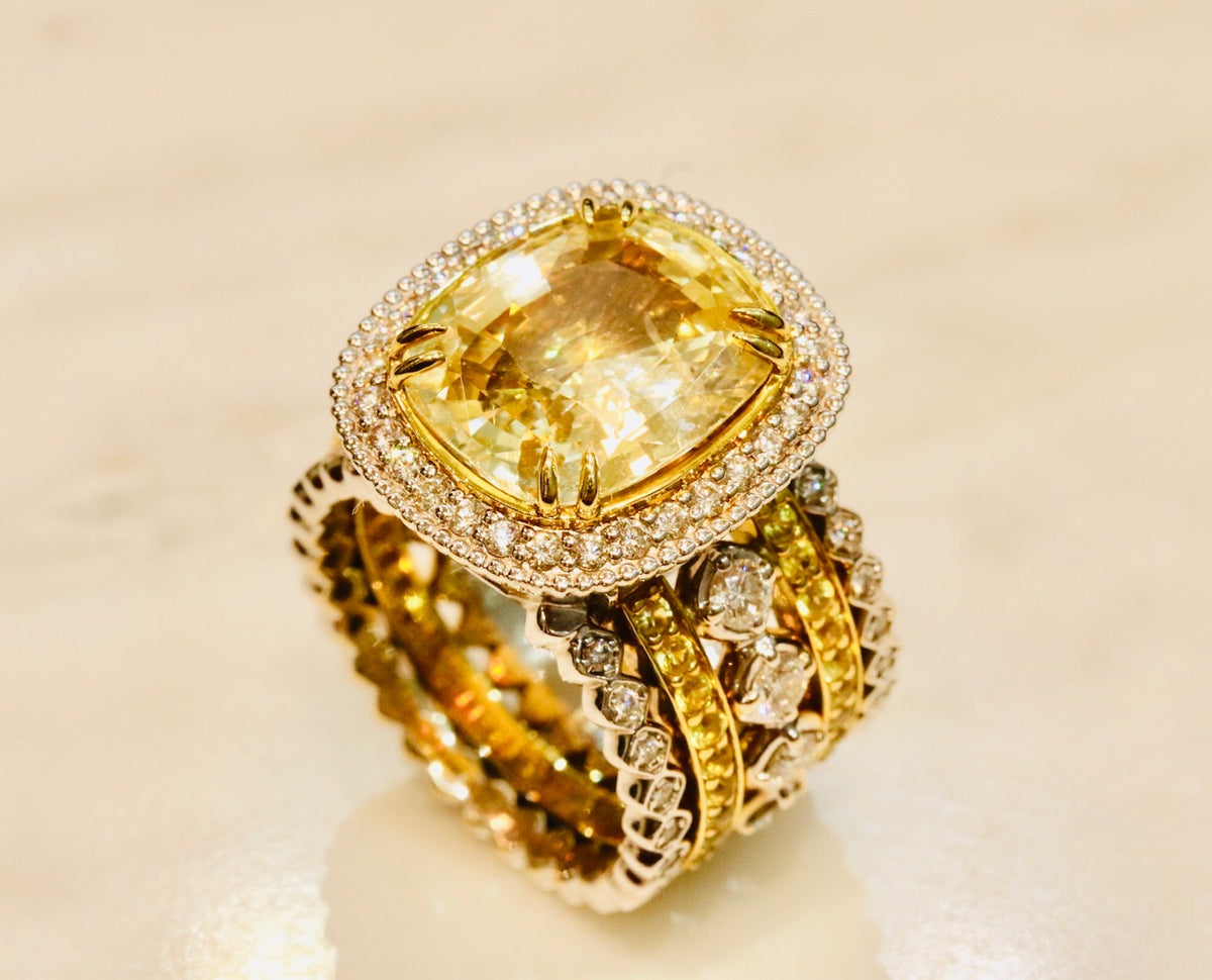 18K two tone gold and yellow sapphire ring