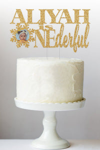 1st Birthday ONEderful Cake Topper, Photo Cake Topper, Winter Wonderland