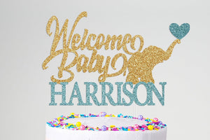 Elephant Baby Shower Personalized Cake Topper