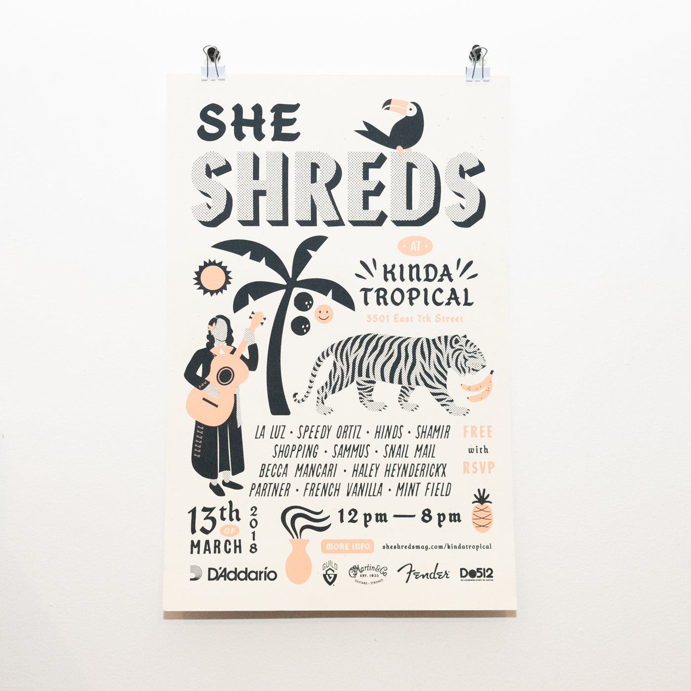 She Shreds SXSW 2018 Screenprinted Poster **RARE**
