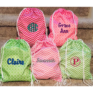 Personalized Patterned Drawstring Bag