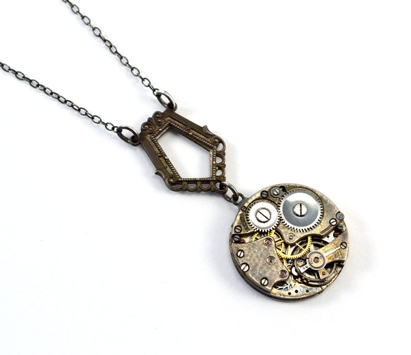 Antiqued Silver Steampunk Necklace, Victoriana