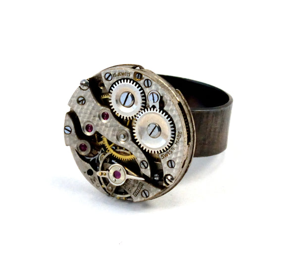 Clockwork Ring, Sterling Silver and Steel