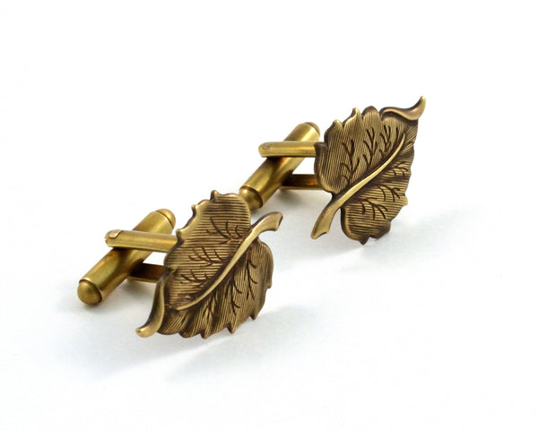 Leaf Cuff Links, Autumn Wedding Gift for Men, Gardener Gift