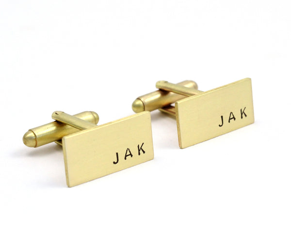 Hand Stamped Brass Custom Initials Cuff Links