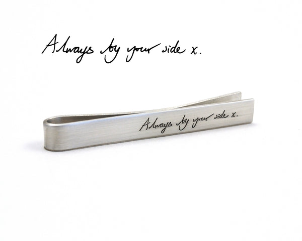 Silver Handwriting Tie Bar, Engraved with your Custom Handwriting