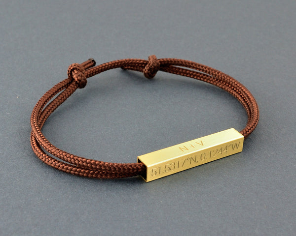 Engraved Mens Bracelet, GPS coordinate Gift for Him
