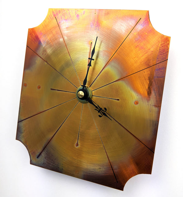 Small Wall Clock in Fiery Red Copper, Painted with a Flame