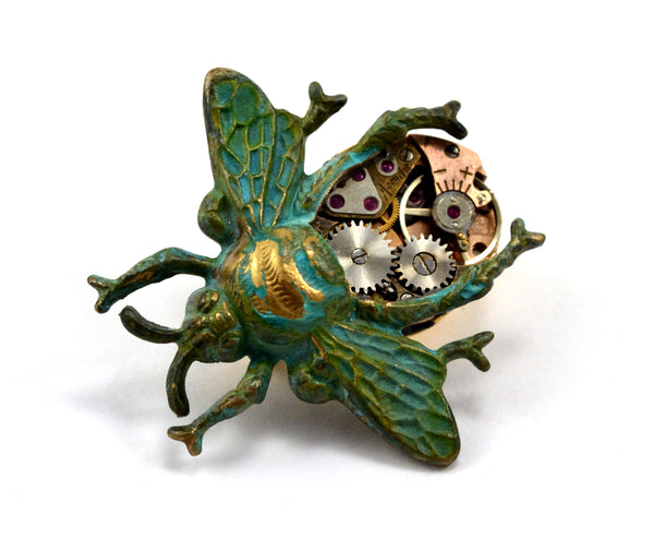 Steampunk Bee Pin, Clockwork