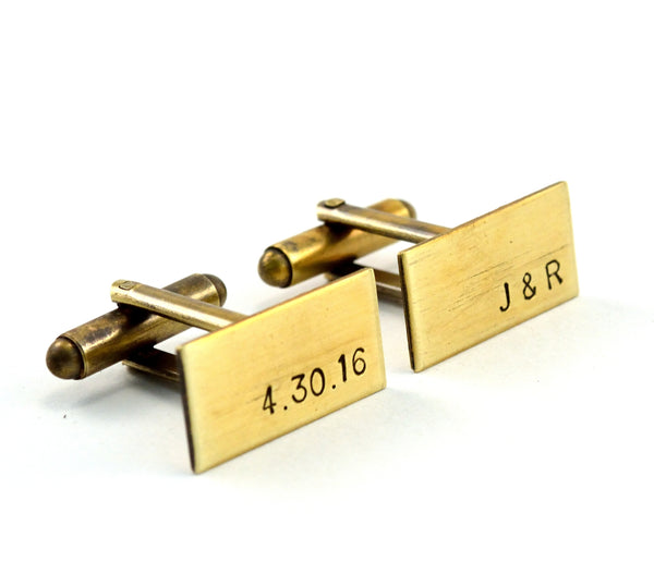 Antiqued Brass Monogram Cuff Links, Groomsmen Gift