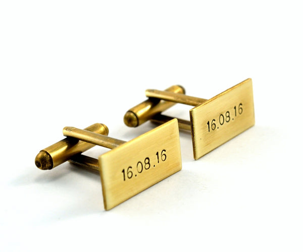 Antiqued Gold Personalised Cuff Links