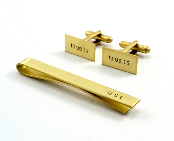 Custom Cuff Links and Tie Bar Gift Set, For Him