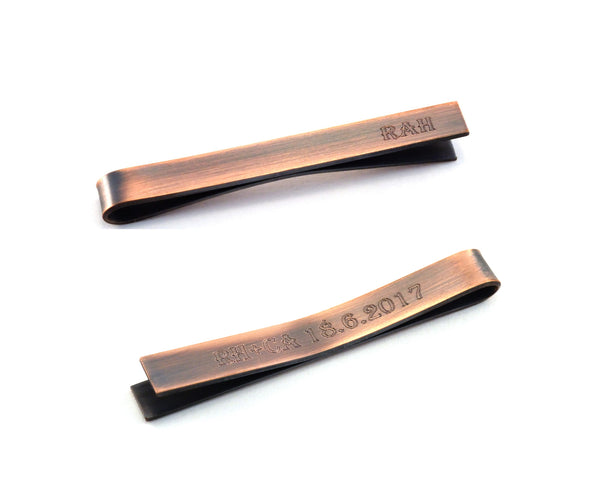 Engraved Antiqued Copper Tie Clip, Customised