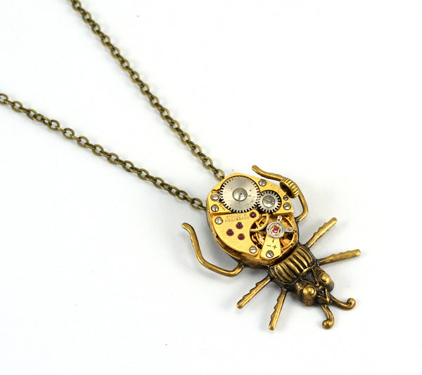 Gold Steampunk Beetle Necklace
