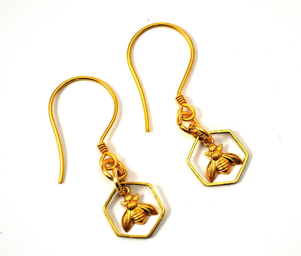 Honeycomb Bee Earrings, Gold Plated Silver Earwires