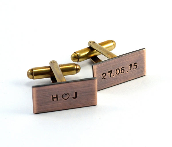 Personalised Cufflinks, Copper 7th Anniversary Gift