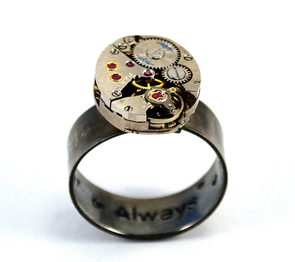 Personalised Steampunk Ring, Engraved Secret Message