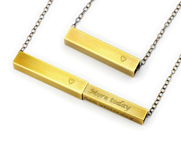 Secret Message Necklace in Antiqued Brass