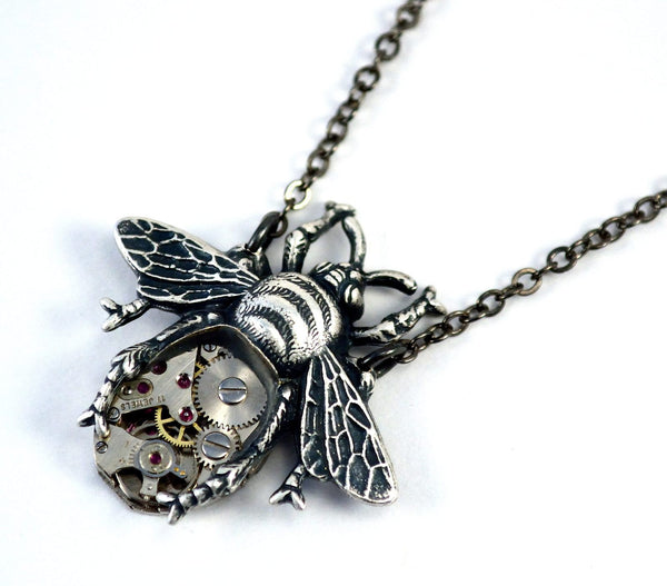 Silver Bee Necklace, Steampunk